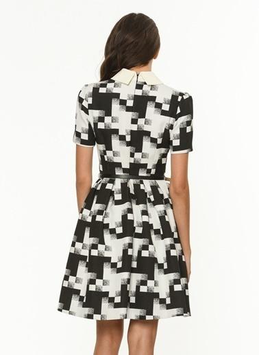Gömlek Yaka Detaylı Desenli Elbise-Jus De Pommes